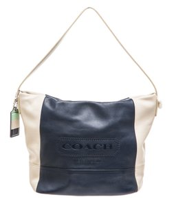 Coach Tote in White/Navy Blue