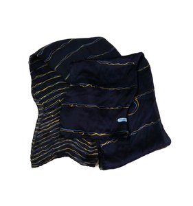 Salvatore Ferragamo Blue & Yellow Striped Logo Silk Scarf