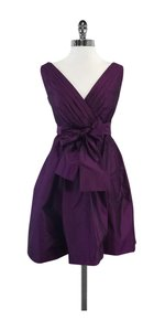 Badgley Mischka short dress Plum Silk Skater on Tradesy