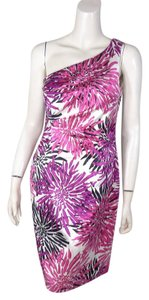 Kay Unger Silk One Shoulder Print Dress