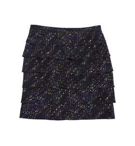 Tory Burch Brown Purple Silk Ruffle Skirt