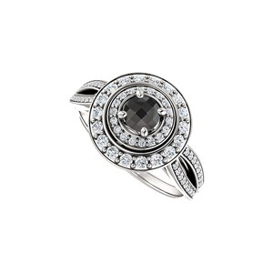 LoveBrightJewelry 925 Sterling Silver 1.00 Carat Black Onyx Cz Curved Split Shank Halo Engagement Ring