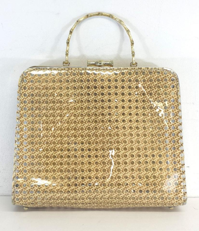 Kate Spade Gold Clear Patent Wicker Purse Hobo Bag 12345