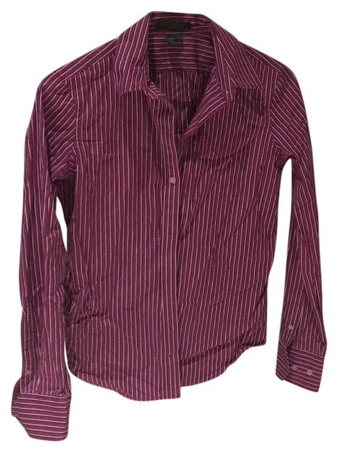 Item - Purple with White and Dark Purple Stripes Button-down Top Size Petite 4 (S)