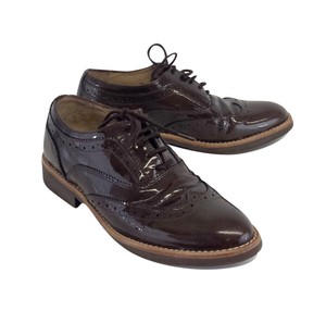 Massimo Dutti Brown Patent Leather Oxford Boots