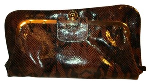 Kate Landry Kiss Lock black & brown snake skin print Clutch