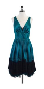 Plenty by Tracy Reese Teal Silk Black Lace Tulle Dress