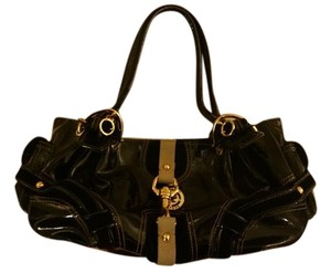 Juicy Couture Fluffy Patent Leather Glossy Gold Trim Satchel Tote in Black