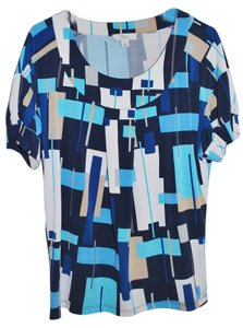 Yvos dressbarn Top Black, Shades of Blue, White and Taupe