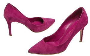 Gianvito Rossi Suede Pointed Toe Pink Pumps