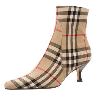 Burberry Pointed Toe Ankle Plaid Beige, Black Boots