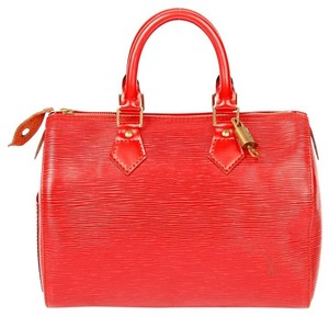 Louis Vuitton Epi Canvas Speedy Weekend Travel Totes Satchel in Red