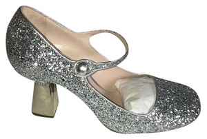 Miu Miu Mary Jane Silver Glitter Pumps