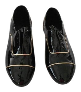 NewbarK Gold Trim Slip Made In Usa Runs Small Black Flats
