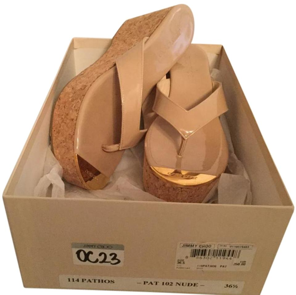 Jimmy Choo Beige New In Patent Leather Leather Patent Cork Wedge Thong Logo Flip Flops 36.5 Sandals 32ad58