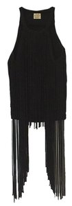 Torn by Ronny Kobo Fringe Knit Top Black