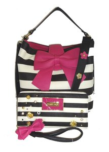 Betsey Johnson Bucket Cross Body Satchel in black/bone stripe