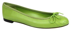 Gucci Leather Ballet Embossed Green Flats