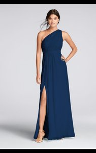David's Bridal Marine Long One Shoulder Chiffon Dress- Style: F18055 Dress
