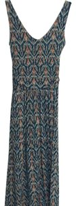 Navy blue, Teal, Seafoam green , orange Maxi Dress by Anthropologie