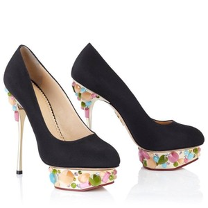 Charlotte Olympia Dolly Mew Never Worn Stunning Embellished Black Pumps