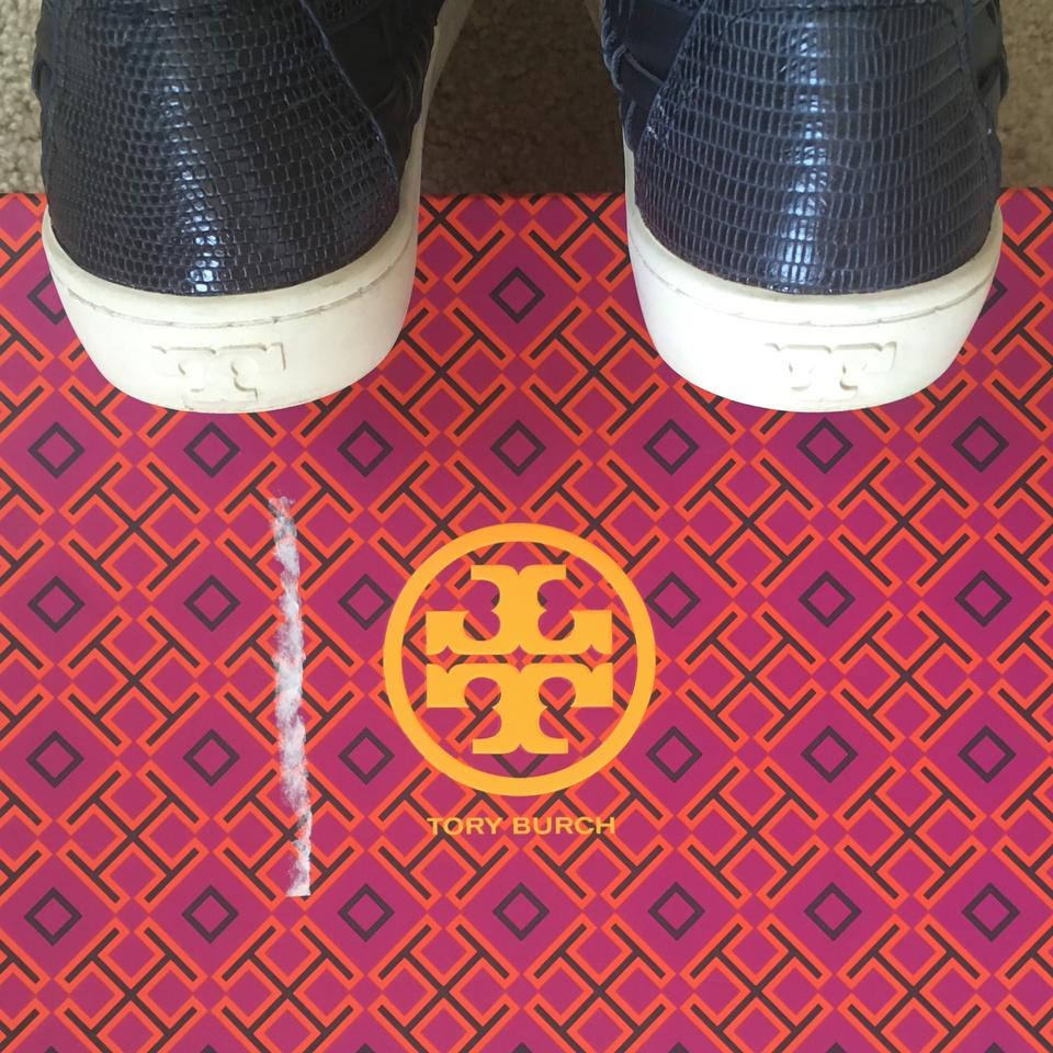 59835360a07a Tory Burch Slip On Sneakers Leather Navy Athletic Image 5. 123456
