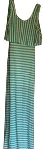 Aqua/teal and white striped Maxi Dress by Ya Los Angeles