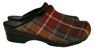 Dansko Cloth Upper Plaid Open Clog Mules