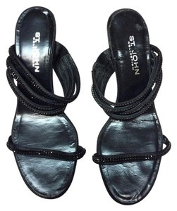 St. John 4 Thin Foot Straps Italian Black Sandals