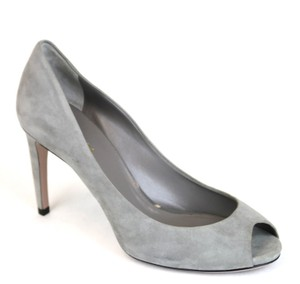 Gucci Suede Open Toe Pump Grey Pumps