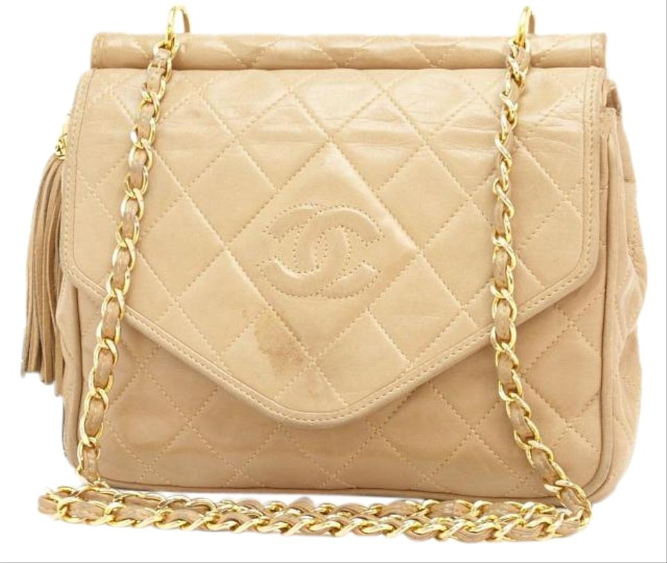 19315932cb5b Chanel Classic Flap Quilted Leather Tassel Single Chain Sand Lambskin  Shoulder Bag