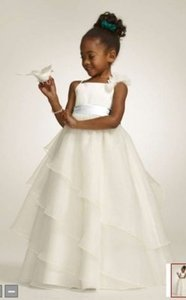 David's Bridal Ivory Tiered Organza Flower Girl Dress