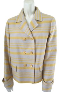 Talbots Cotton Linen Striped Lined Multi-Color Blazer