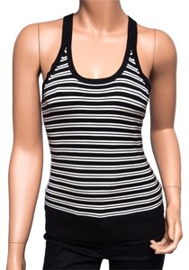 DKNY Silk Blend Striped Soft Crisscross Strap Top Multi-color