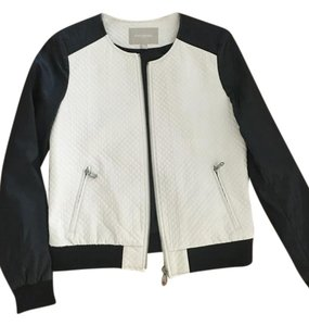 Banana Republic Black, Off-White Leather Jacket
