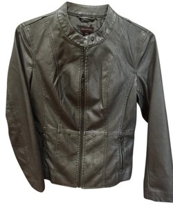 Multiples Stone Gray Leather Jacket