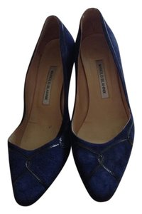 Manolo Blahnik Suede Navy Pumps
