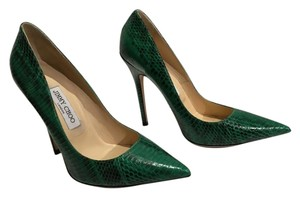 Jimmy Choo Anouk Snakeskin Hot Green Pumps