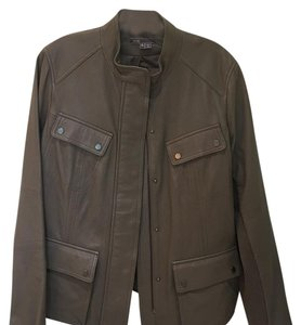 Vince Leather Dark Taupe/ Slate Leather Jacket