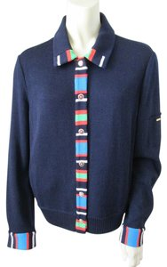 St. John Knit Color-blocking Blue Jacket