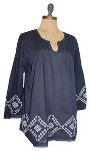 Anthropologie Boxy Navy Relaxed Fit Embroidered Beaded Top BLUE