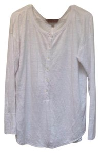 Banana Republic Linen Longsleeve Button Down Pullover T Shirt White