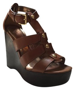Michael Kors Korsmichaelkors Goldhardware Leather Brown Wedges
