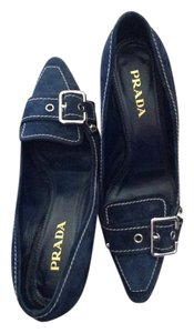 Prada Buckle Stitching Navy Pumps