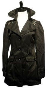 Lipsy Curvaceous London Metallic Hardware Jeweled Trench Coat