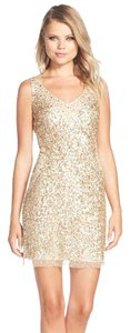 Adrianna Papell Sequin Tulle Sheath Gold V-neck Dress