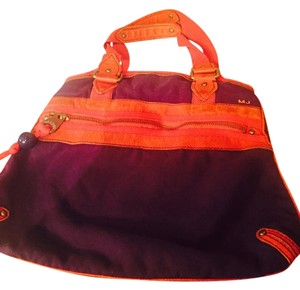 Marc Jacobs Tote in Purple with Red Orange leather Trim