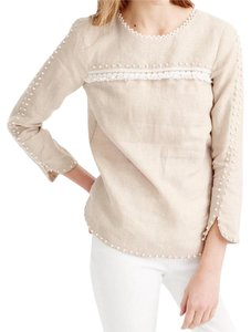 J.Crew Embroidered French Knot 3/4 Sleeves Top Beige