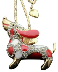 Betsey Johnson Red Dachshund Dog Swarovski
