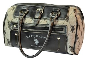 U.S. Polo Assn. Mongram Jacquard Leather Like New Roomy Satchel in Black and Gray